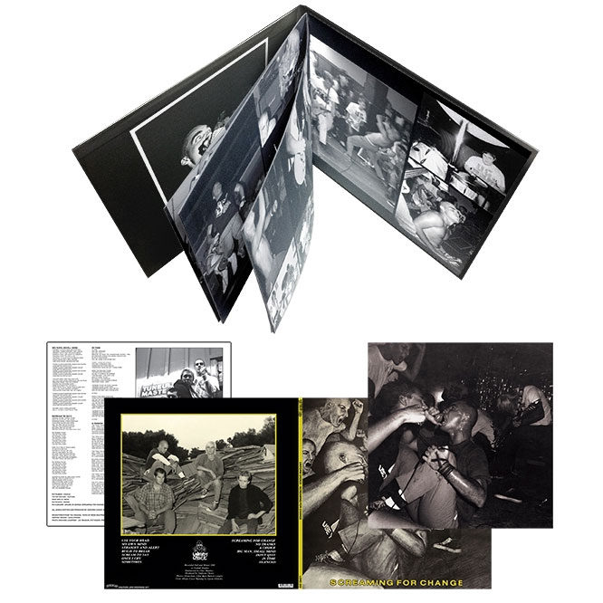 """Screaming For Change - packaging includes a 8 page 12""""x12"""" booklet bound into a stoughton tip-on gatefold jacket"""